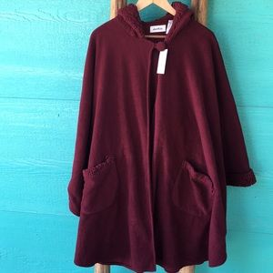 Red Riding Fleece Hooded Cape Poncho wit…